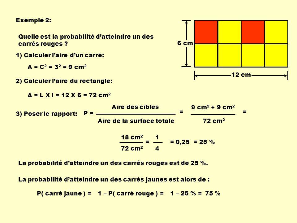 Exemple 2: 12 cm. 6 cm. Quelle est la probabilité d'atteindre un des carrés rouges 1) Calculer l'aire d'un carré: