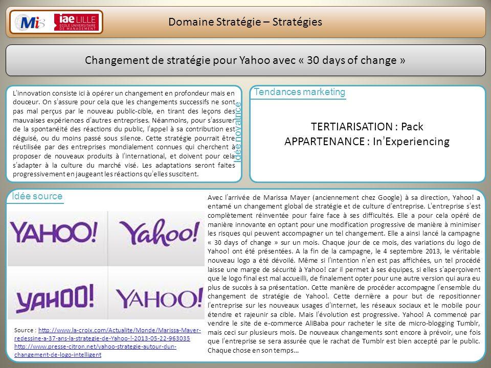 Domaine Stratégie – Stratégies