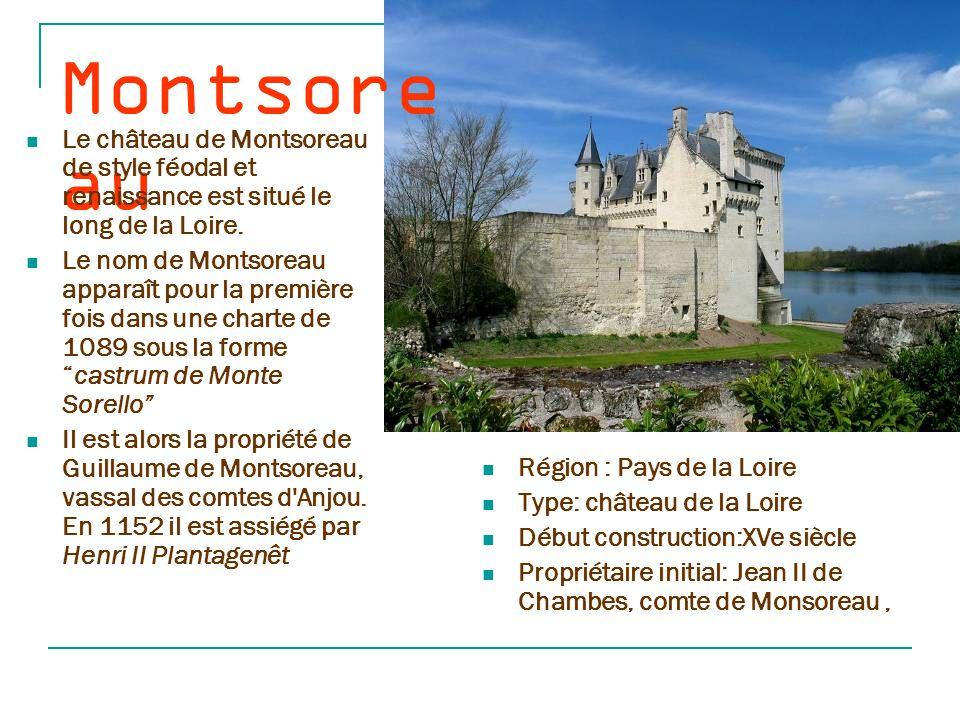 Montsoreau Le château de Montsoreau de style féodal et renaissance est situé le long de la Loire.