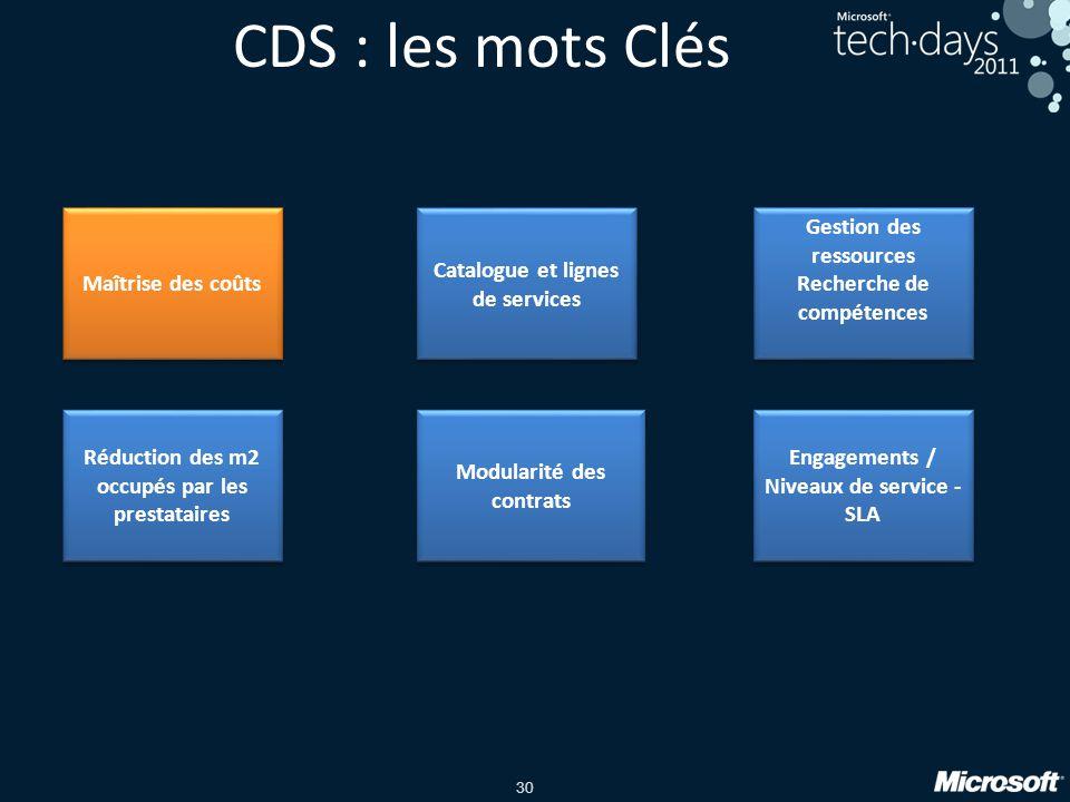 CDS : les mots Clés Maîtrise des coûts Catalogue et lignes de services