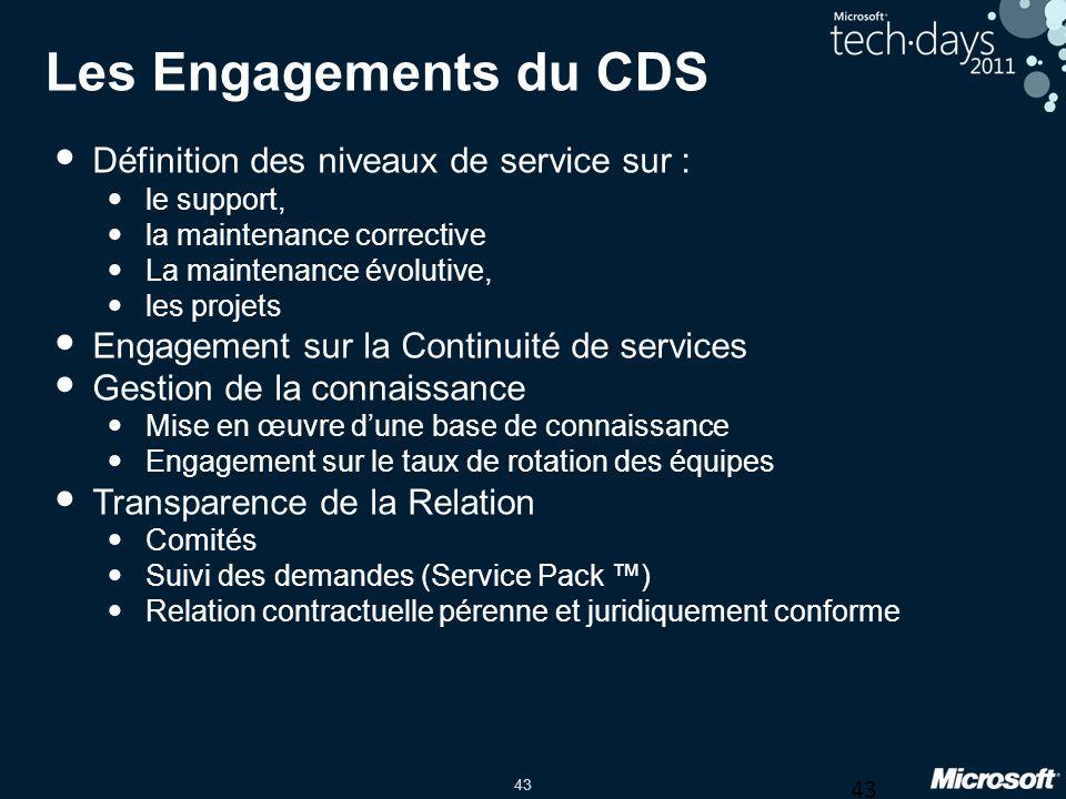 Les Engagements du CDS Définition des niveaux de service sur :