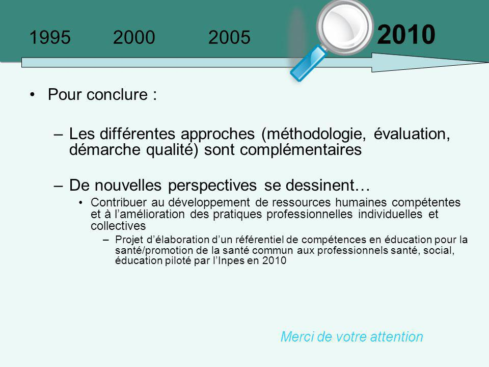 1995 2000 2005 2010 Pour conclure :