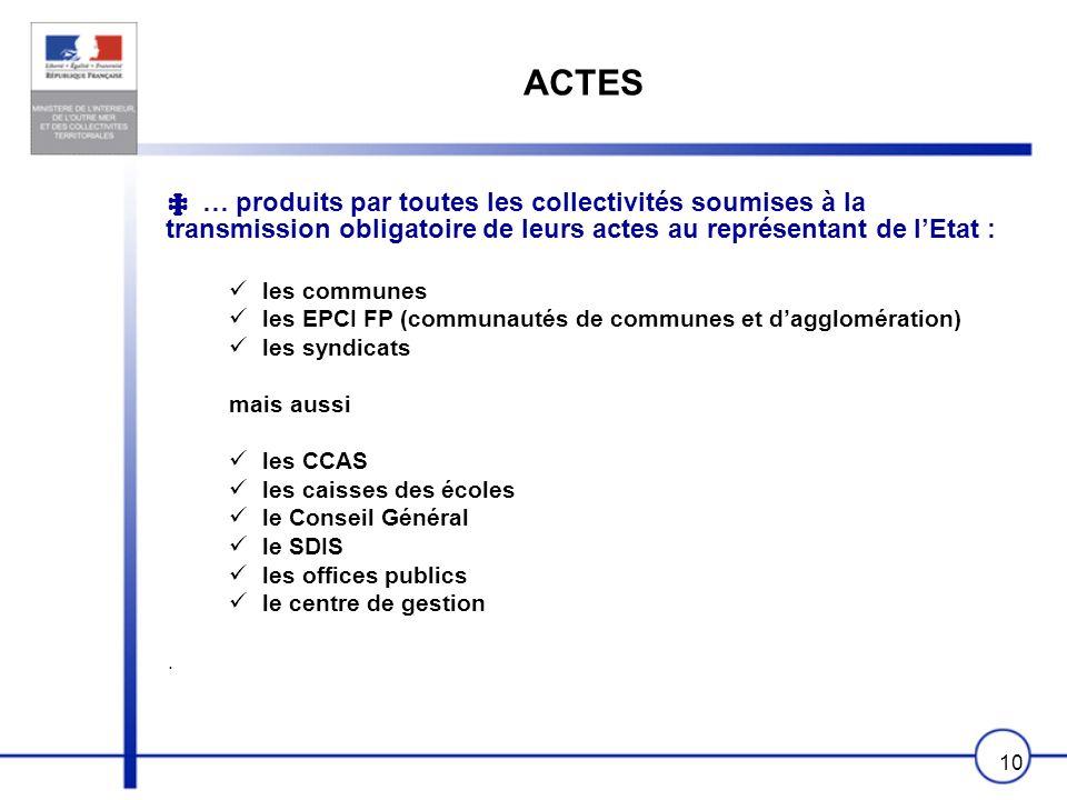 ACTES ‡ … produits par toutes les collectivités soumises à la transmission obligatoire de leurs actes au représentant de l'Etat :