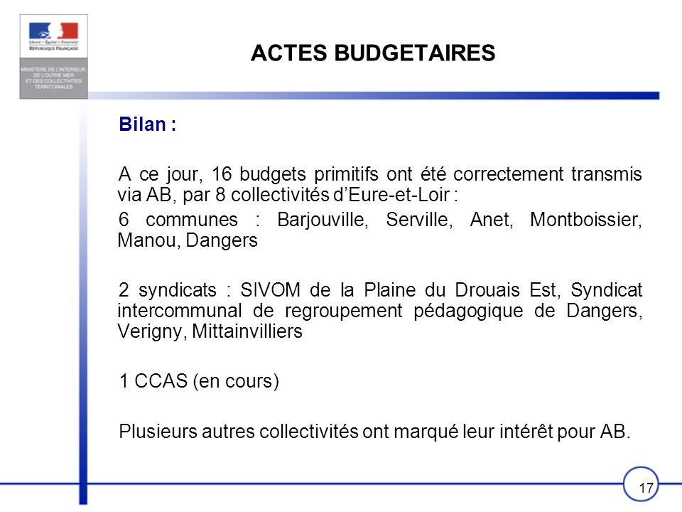 ACTES BUDGETAIRES Bilan :