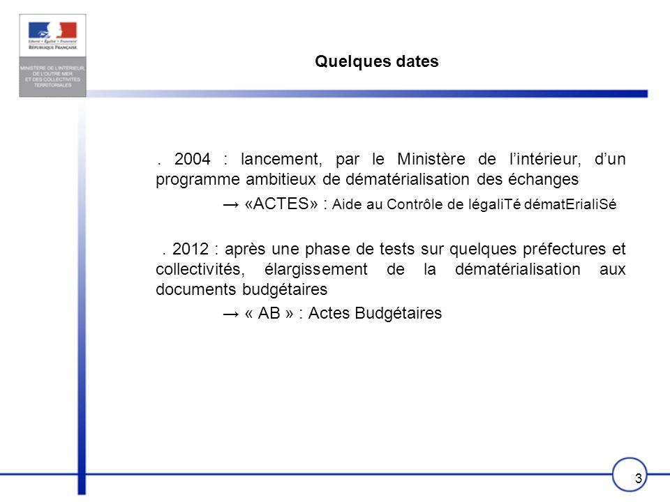 Quelques dates. 2004 : lancement, par le Ministère de l'intérieur, d'un programme ambitieux de dématérialisation des échanges.