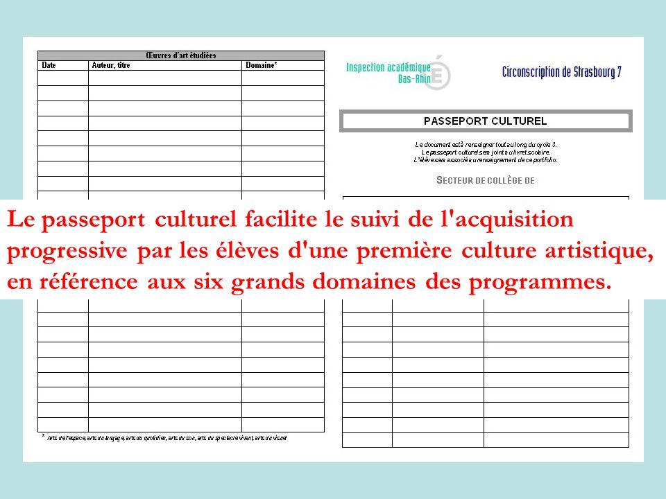 Le passeport culturel facilite le suivi de l acquisition progressive par les élèves d une première culture artistique, en référence aux six grands domaines des programmes.