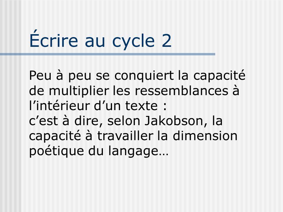 Écrire au cycle 2 Peu à peu se conquiert la capacité de multiplier les ressemblances à l'intérieur d'un texte :