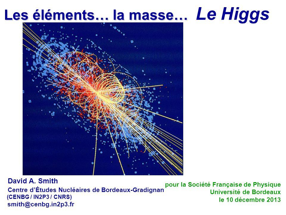 Les éléments… la masse… Le Higgs