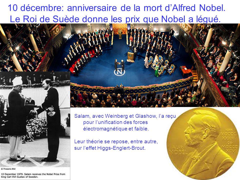 10 décembre: anniversaire de la mort d'Alfred Nobel.