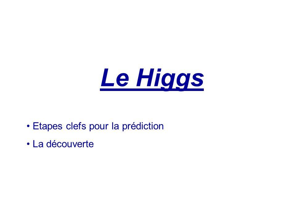 Le Higgs Etapes clefs pour la prédiction La découverte