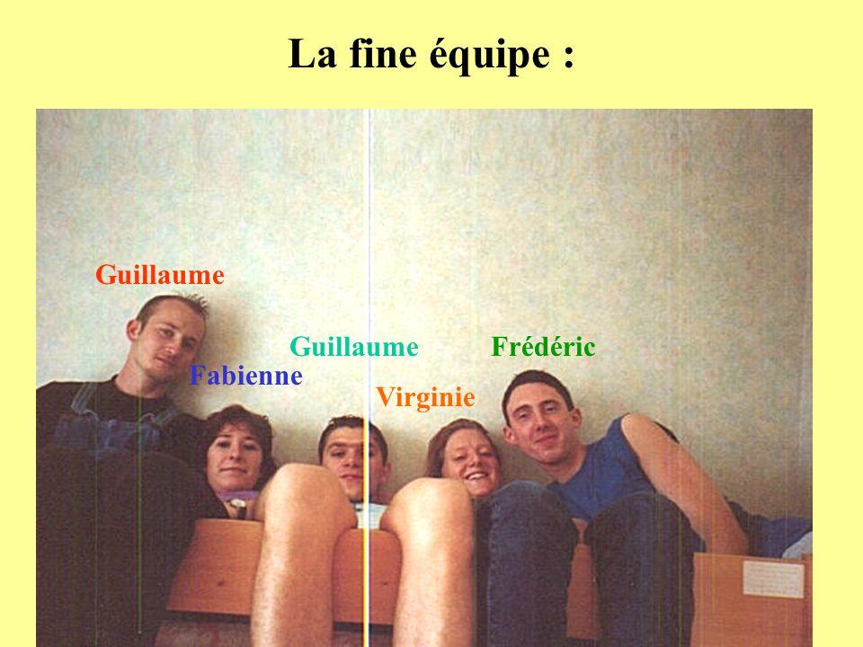La fine équipe : Guillaume Guillaume Frédéric Fabienne Virginie