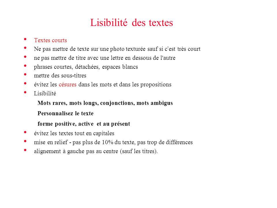 Lisibilité des textes Textes courts