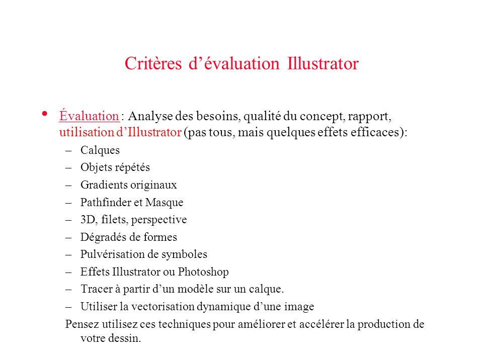 Critères d'évaluation Illustrator