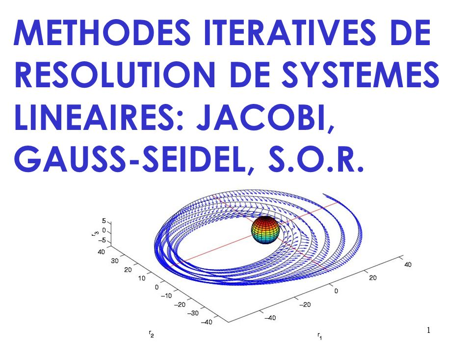 METHODES ITERATIVES DE RESOLUTION DE SYSTEMES LINEAIRES: JACOBI, GAUSS-SEIDEL, S.O.R.
