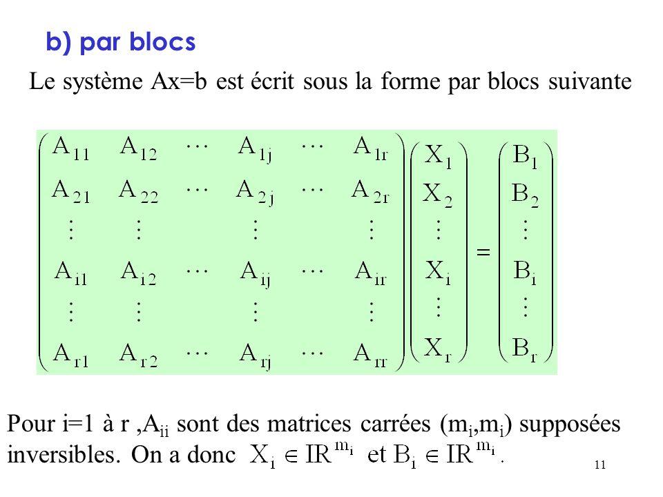 b) par blocsLe système Ax=b est écrit sous la forme par blocs suivante.