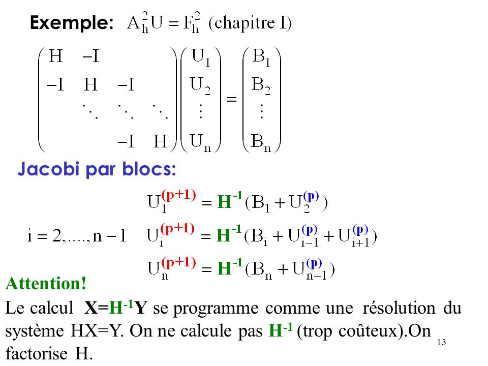 Exemple:Jacobi par blocs: Attention!