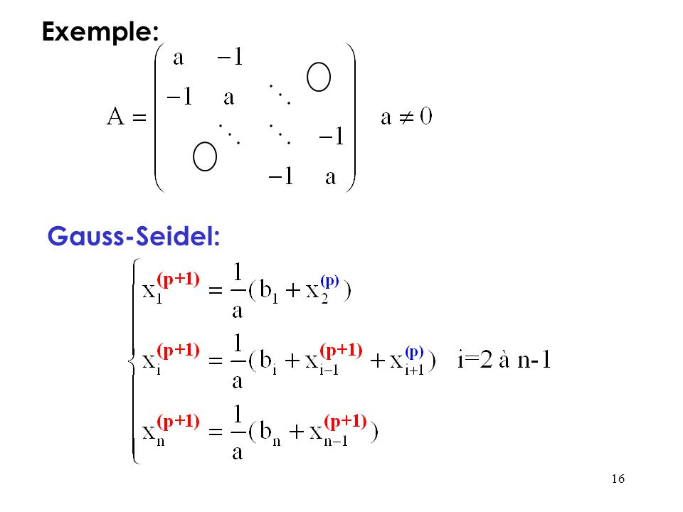 Exemple: Gauss-Seidel: