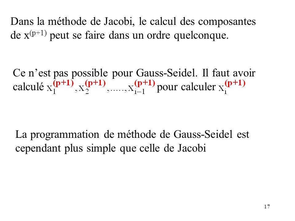 Dans la méthode de Jacobi, le calcul des composantes de x(p+1) peut se faire dans un ordre quelconque.