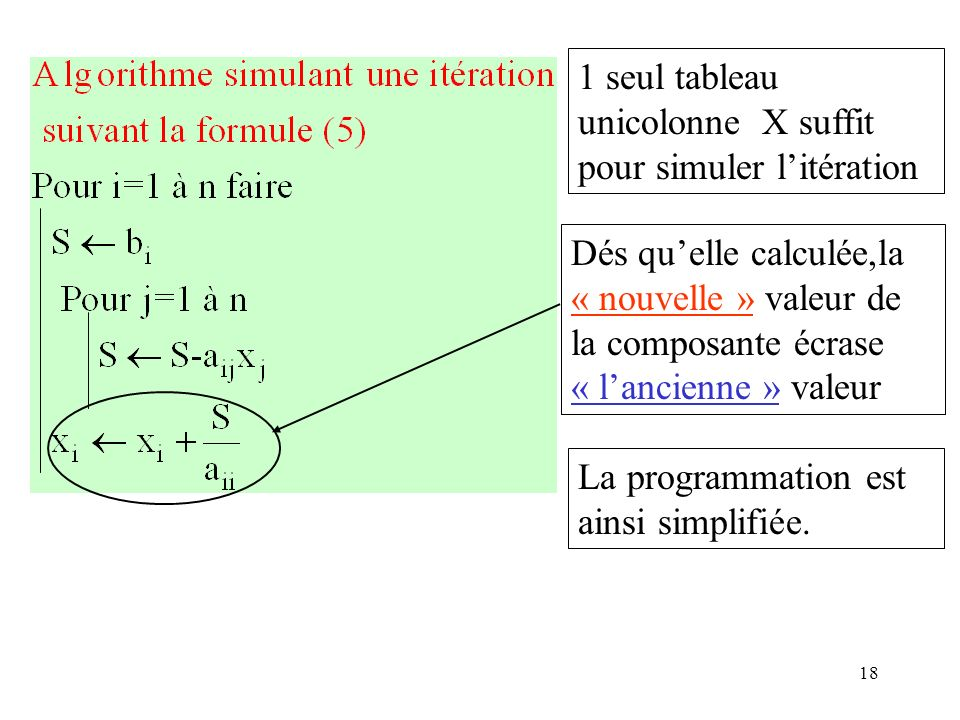 1 seul tableau unicolonne X suffit pour simuler l'itération