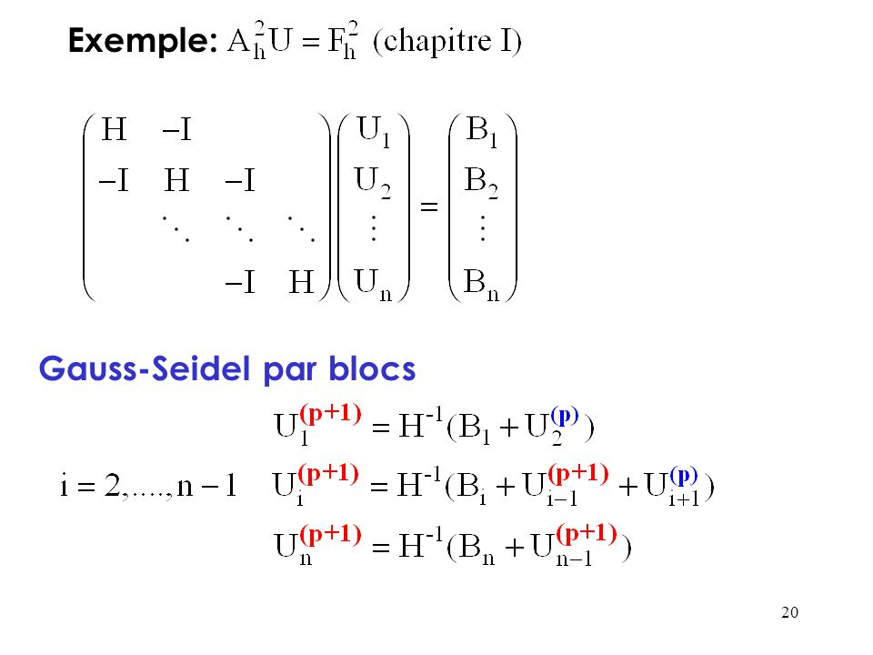 Exemple: Gauss-Seidel par blocs