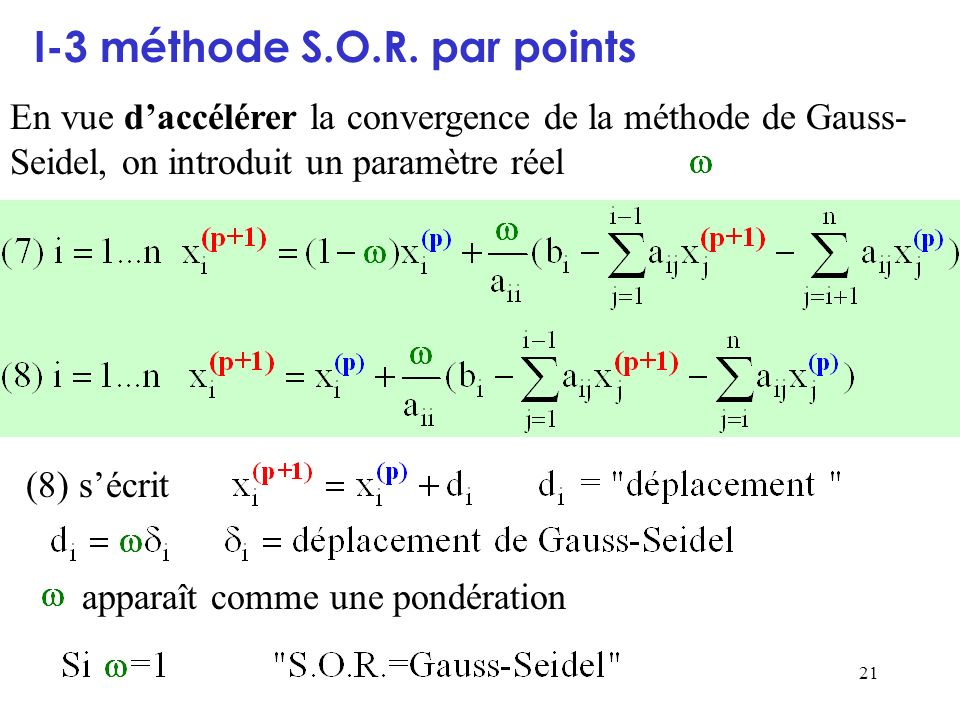 I-3 méthode S.O.R. par points