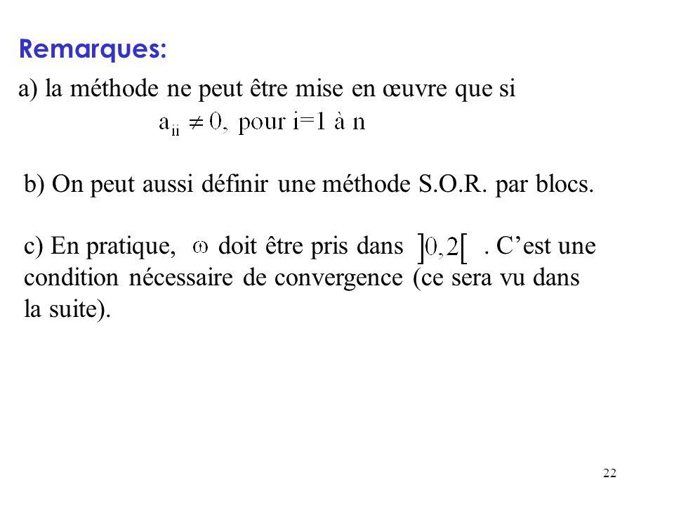 Remarques: a) la méthode ne peut être mise en œuvre que si. b) On peut aussi définir une méthode S.O.R. par blocs.