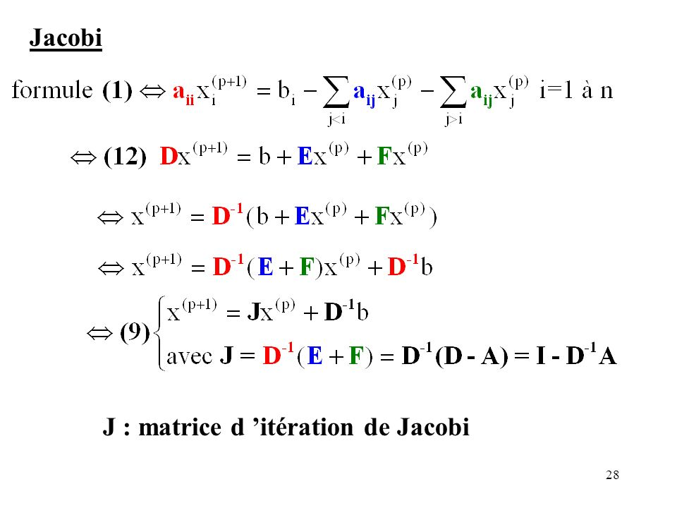 Jacobi J : matrice d 'itération de Jacobi