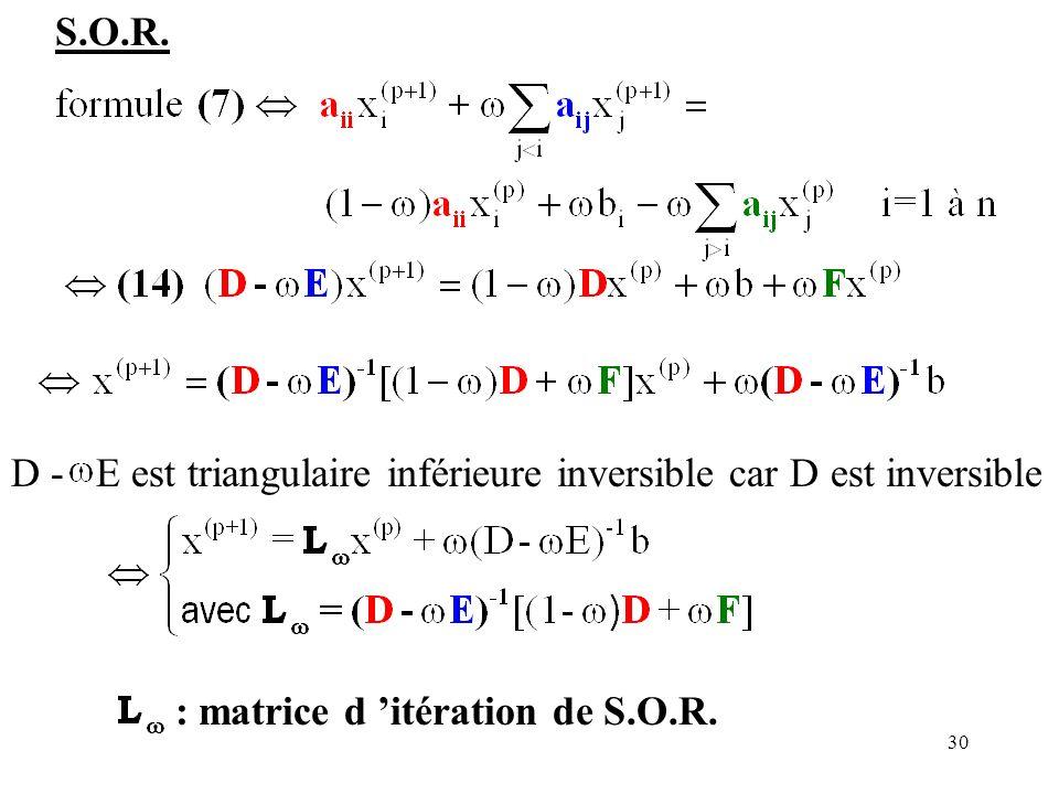 S.O.R. D - E est triangulaire inférieure inversible car D est inversible.