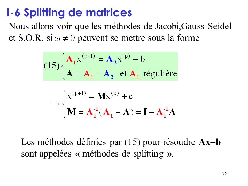 I-6 Splitting de matrices