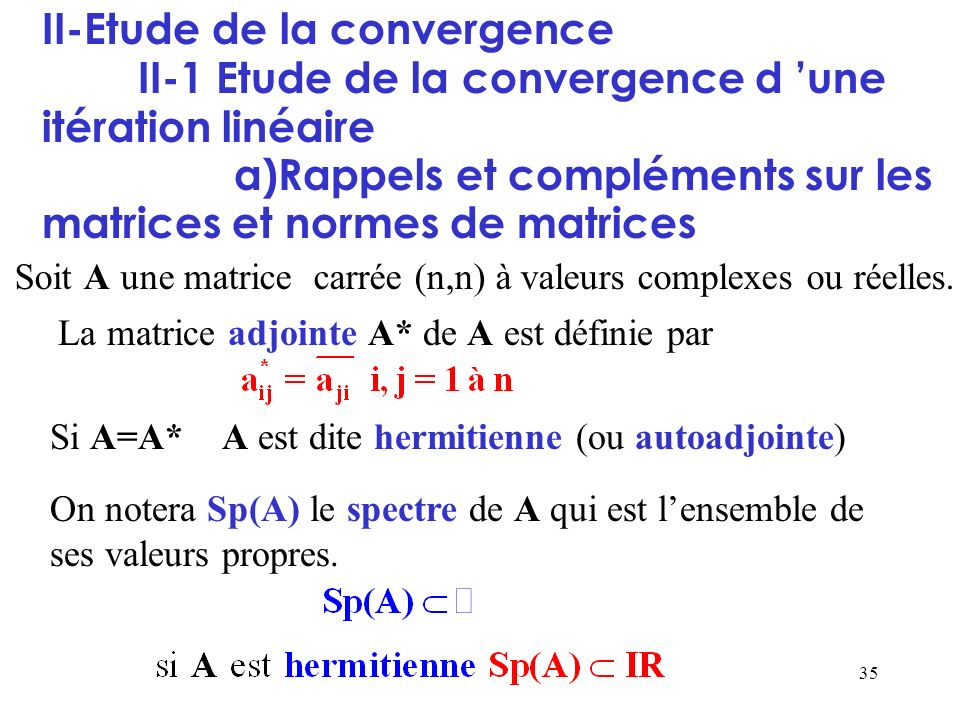 II-Etude de la convergence