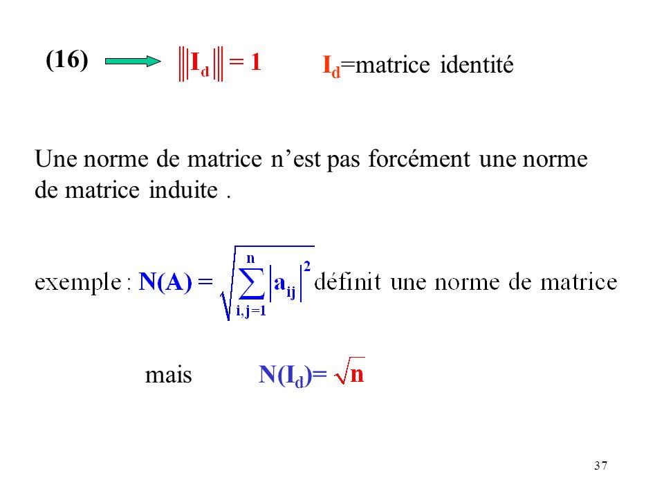 (16)Id=matrice identité.Une norme de matrice n'est pas forcément une norme de matrice induite .