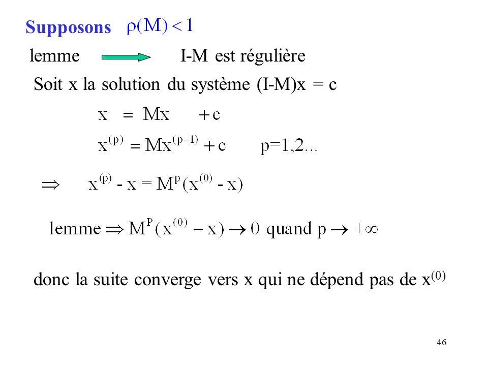 Supposonslemme I-M est régulière. Soit x la solution du système (I-M)x = c.