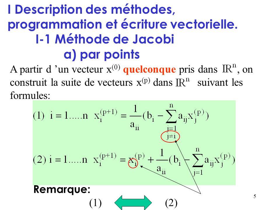 I Description des méthodes, programmation et écriture vectorielle.