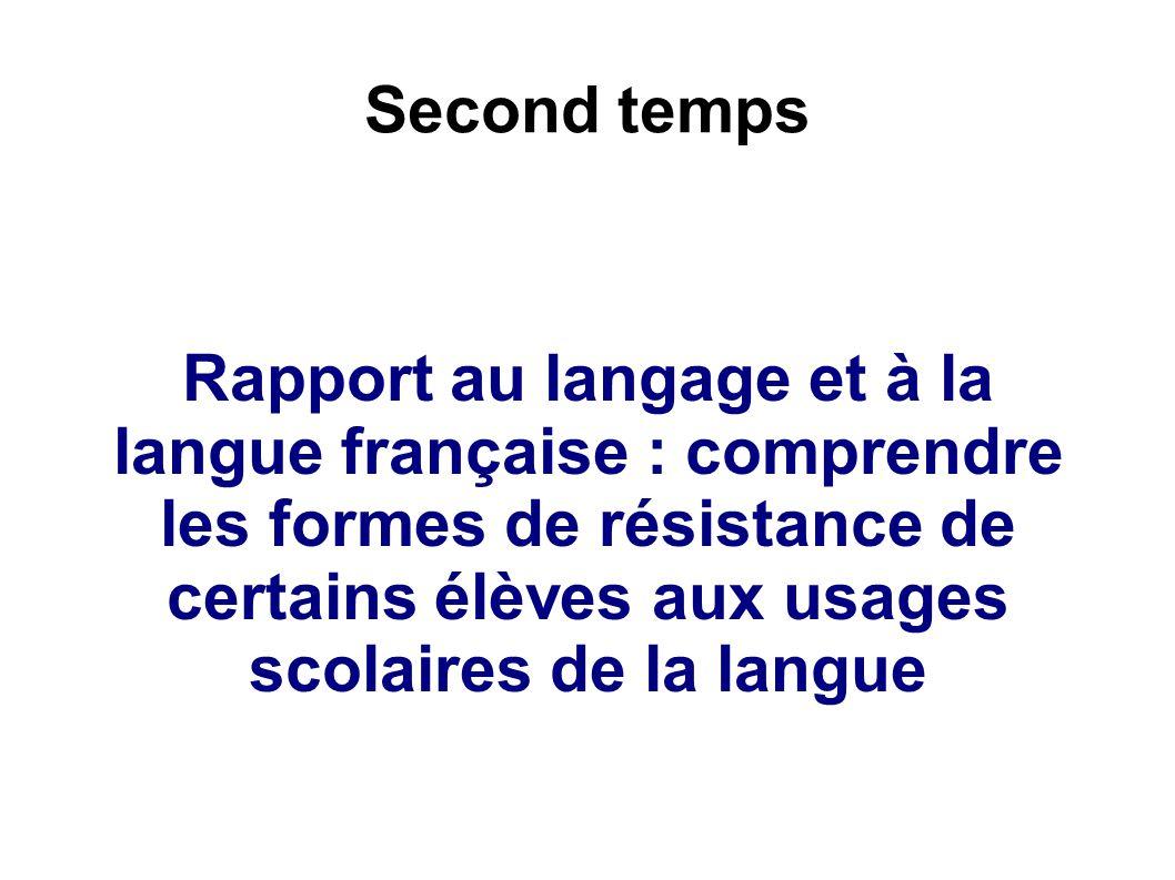 Second temps Rapport au langage et à la langue française : comprendre les formes de résistance de certains élèves aux usages scolaires de la langue.