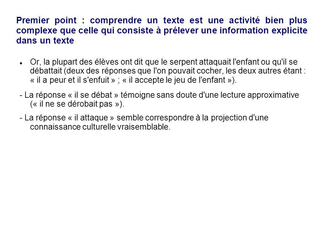 Premier point : comprendre un texte est une activité bien plus complexe que celle qui consiste à prélever une information explicite dans un texte
