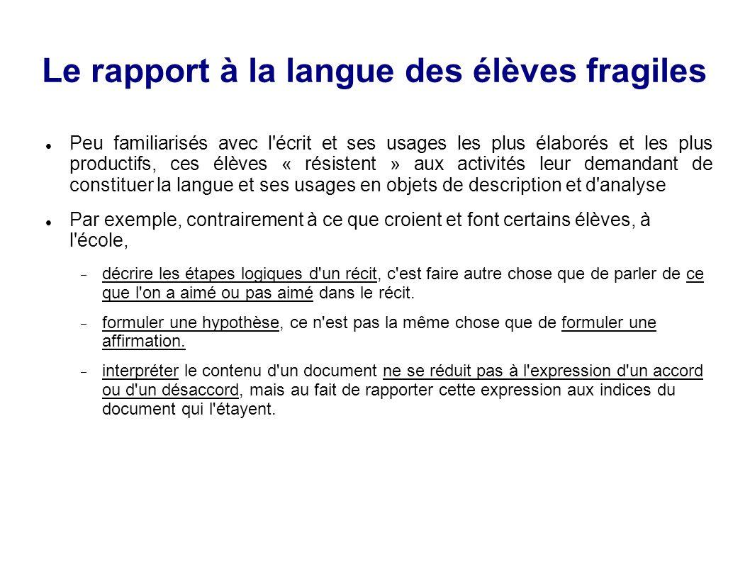 Le rapport à la langue des élèves fragiles