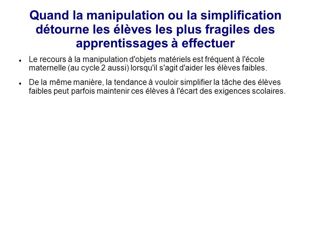 Quand la manipulation ou la simplification détourne les élèves les plus fragiles des apprentissages à effectuer