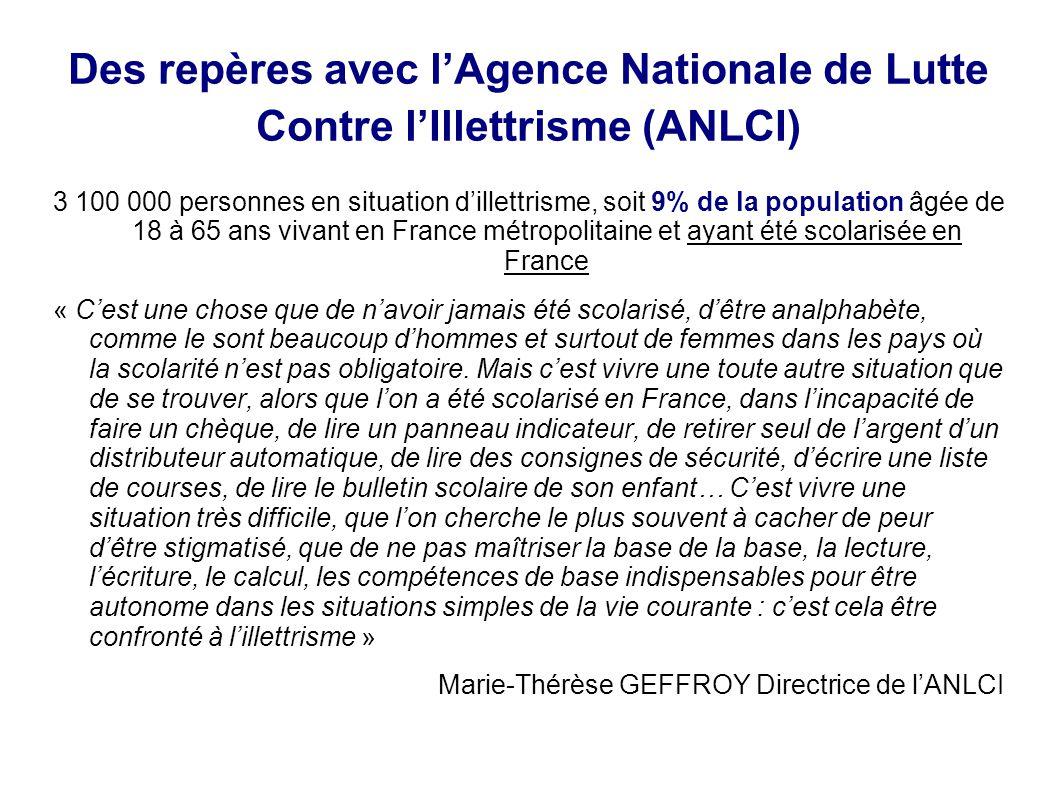 Des repères avec l'Agence Nationale de Lutte Contre l'Illettrisme (ANLCI)