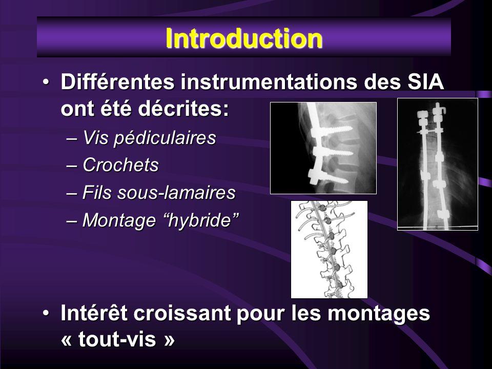 Introduction Différentes instrumentations des SIA ont été décrites: