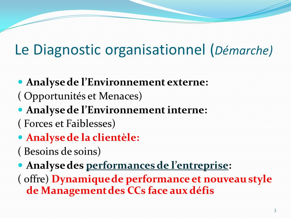 Le Diagnostic organisationnel (Démarche)