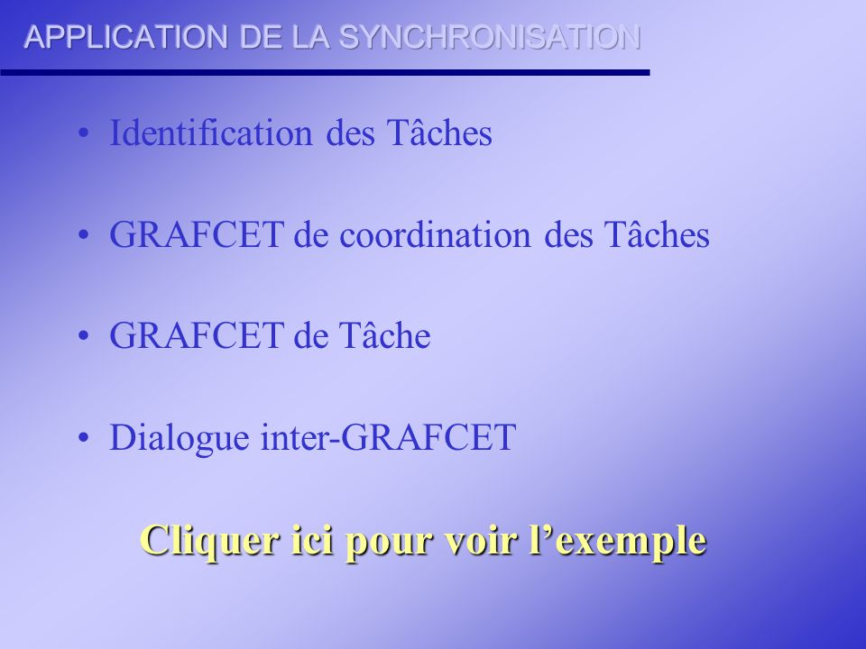 APPLICATION DE LA SYNCHRONISATION