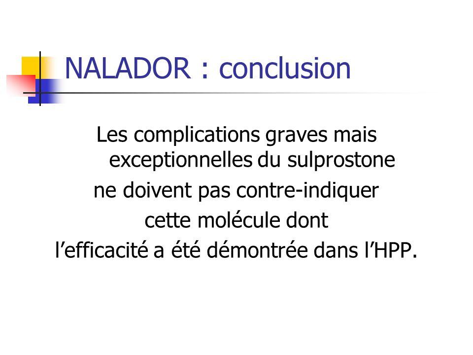 NALADOR : conclusion Les complications graves mais exceptionnelles du sulprostone. ne doivent pas contre-indiquer.