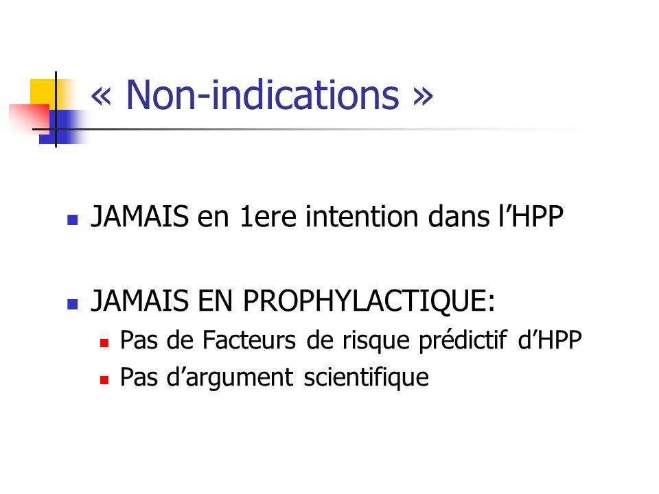 « Non-indications » JAMAIS en 1ere intention dans l'HPP