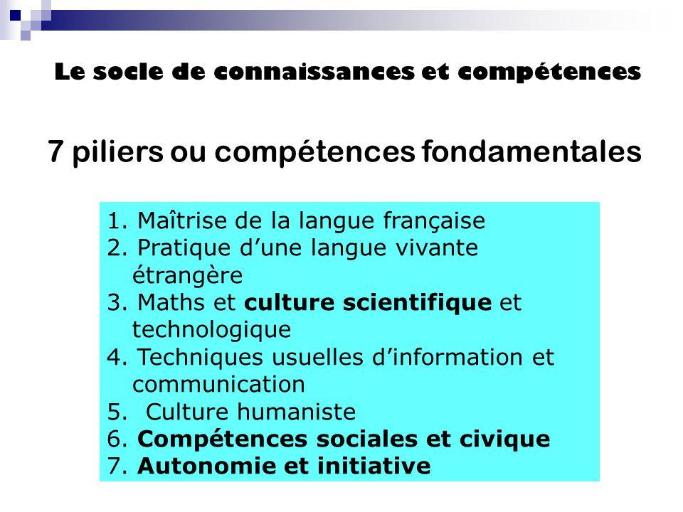 7 piliers ou compétences fondamentales