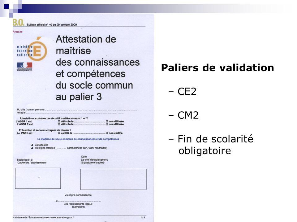 Paliers de validation – CE2 – CM2 – Fin de scolarité obligatoire