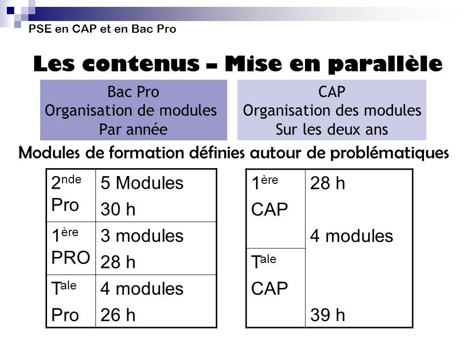 Modules de formation définies autour de problématiques 2nde Pro