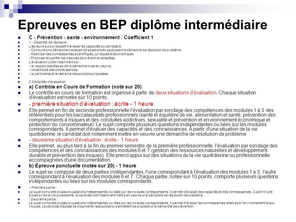 Epreuves en BEP diplôme intermédiaire