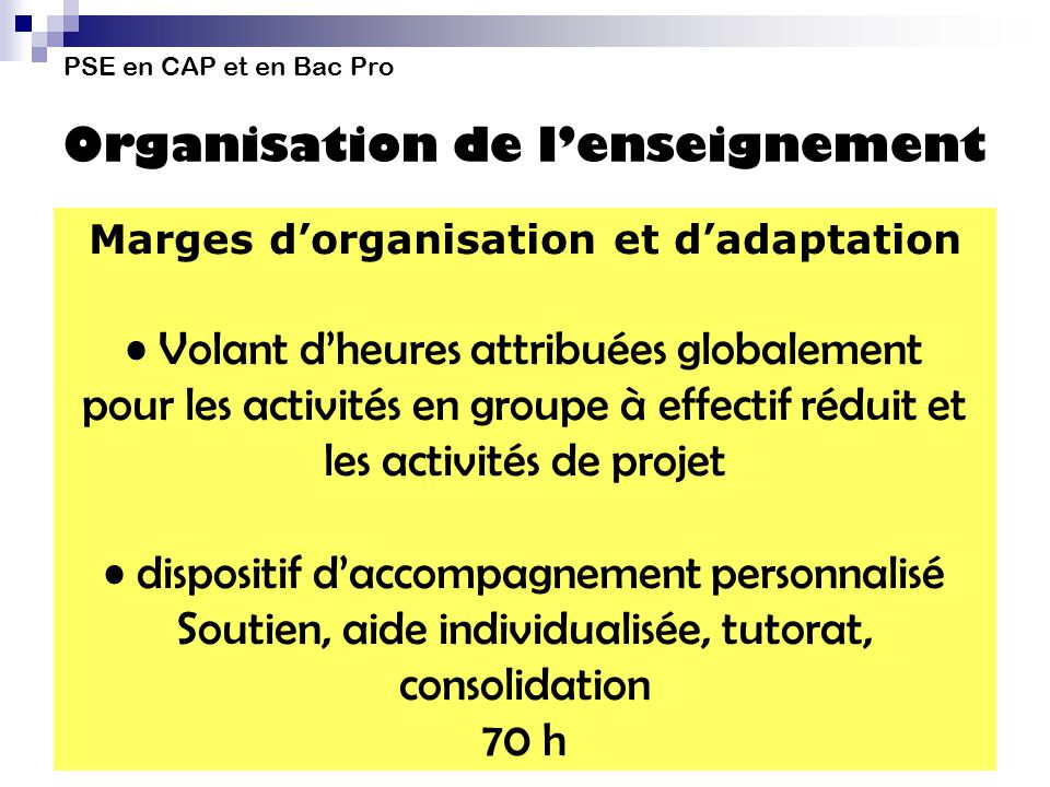 Marges d'organisation et d'adaptation