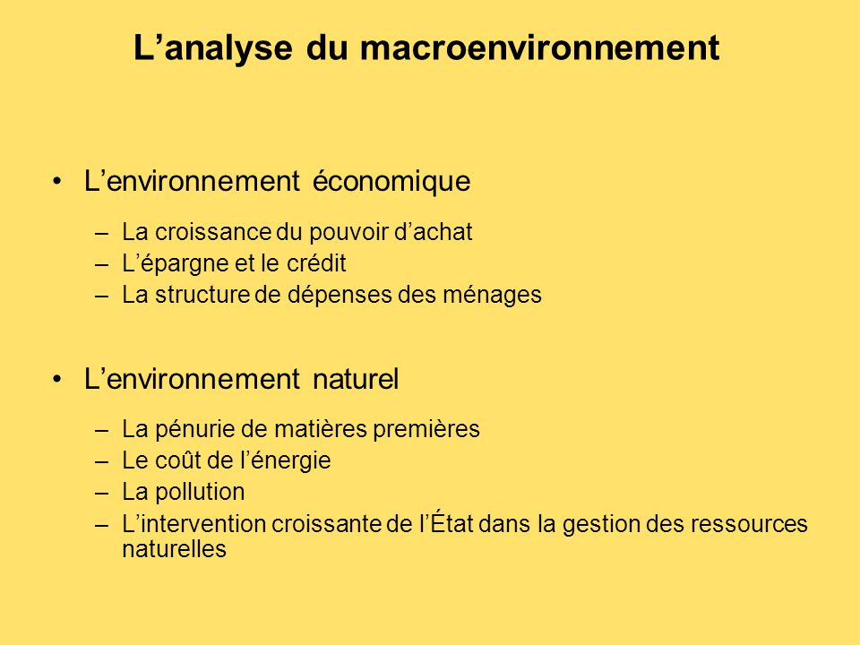 L'analyse du macroenvironnement