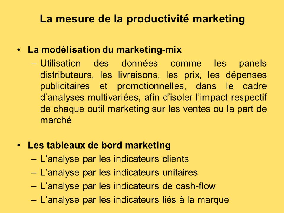 La mesure de la productivité marketing